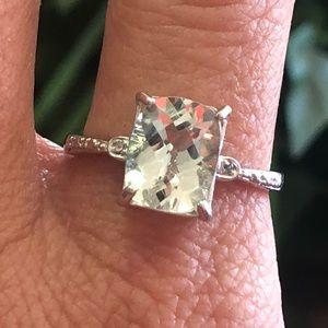 925 Sterling Silver Radiant Cut Aquamarine Ring